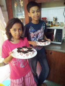 With brother  after Cup's Cake